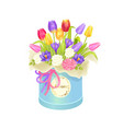bouquet and box with flowers vector image vector image