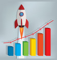 business chart with a rocket going up vector image