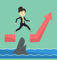 business woman jumping over ocean with shark vector image