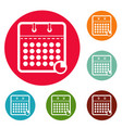 calendar business icons circle set vector image vector image