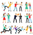 cartoon set of angry people fighting vector image vector image