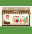 clothing store building and interior with vector image vector image