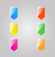 colored shiny glass flags on a gray background vector image vector image