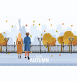 couple walking in new york autumn flat vector image vector image