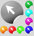 Cursor arrow icon sign Set of eight multi colored vector image vector image
