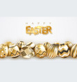easter holiday background with realistic golden vector image vector image
