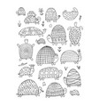 funny turtles collection sketch for your design vector image