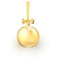 gold christmas ball with golden silk ribbon vector image
