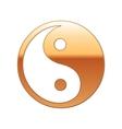 Gold Yin Yang symbol icon on white background vector image