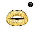 golden lips vector image vector image