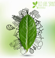 green leave with doodles about eco lifestyle vector image vector image