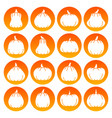halloween pumpkin white silhouette icon set vector image