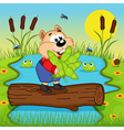 hamster with peas cross the river vector image