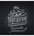hand drawn cake on chalkboard vector image