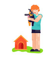 man boy play with best friend pet character dog or vector image