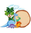 many dinosaur on wooden banner vector image vector image