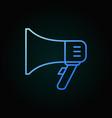 megaphone blue outline icon on dark vector image