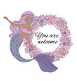 mermaid welcome sea princess wreath vector image