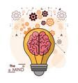 mind bulb brain gears idea intelligence design vector image vector image