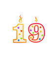 nineteen years anniversary 19 number shaped vector image