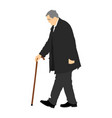 old man person walking with stick grandfather walk vector image vector image