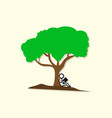 people who read near a tree vector image