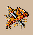 pizza stabbed a sword vector image
