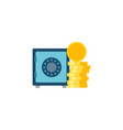 safe wit coins stack flat icon vector image