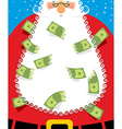 Santa Claus Beard money Christmas wealth New years vector image vector image