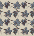 seamless pattern of grape in blue vector image vector image