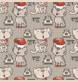 seamless pattern with the cute cats with santa hat vector image vector image