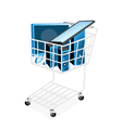 Set of Desktop Computer in Shopping Cart vector image vector image