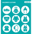 set of round icons white Children s clothing vector image vector image