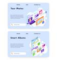 smart photo album online upload photos to cloud vector image vector image