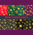 snowflakes and stars set of seamless patterns vector image