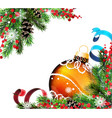 spruce branches and orange christmas ball vector image vector image