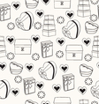 texture with hand drawn gift boxes vector image