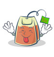 tongue out tea bag character cartoon art vector image vector image