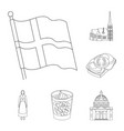 traveling in denmark outline icons in set vector image