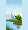 vertical landscape with river vector image vector image