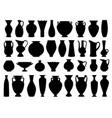 vintage greek vases black silhouette vector image