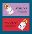 voucher on 50 -75 set of posters gold tags label vector image vector image