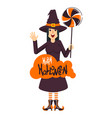 witch and candy vector image vector image
