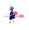 witch in dark dress and hat flying on broomstick vector image