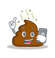 with phone poop emoticon character cartoon vector image vector image