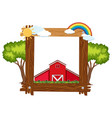 wooden frame template with red barn vector image vector image