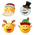 yellow face with emotions and christmas hat vector image vector image