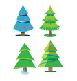 a set of christmas trees with different shapes vector image