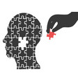 hand took head jigsaw puzzle vector image