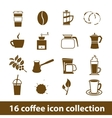 16 coffee icon collection vector image